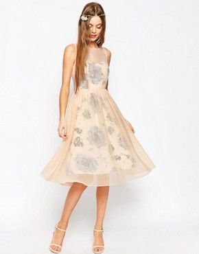 ASOS WEDDING Printed and Sheer Layer Prom Dress