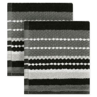Kitchensmart Colors Multi Stripe 2 Pack Dish Cloths In Mineral