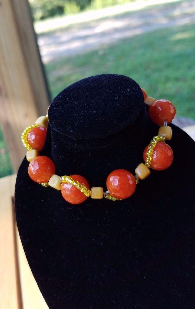 Fire Agate and Yellow Jade Summer Solstice Braclet #BlueRidgeDivaDesigns #Beaded