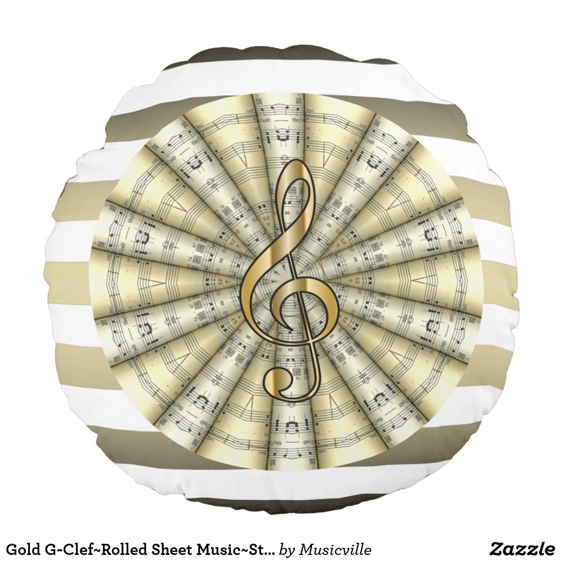 24e7c81aace27bd51af5dddc3fcce37a gold g clef~rolled sheet music~striped background~ round pillow in