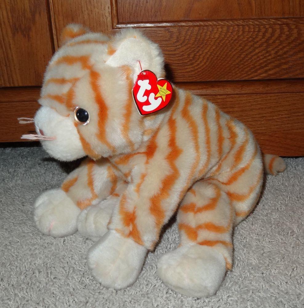 TY Beanie Buddy Amber Cat Orange White Striped Stuffed Large Plush - MINT -  JB   d7d5e3dd5a75