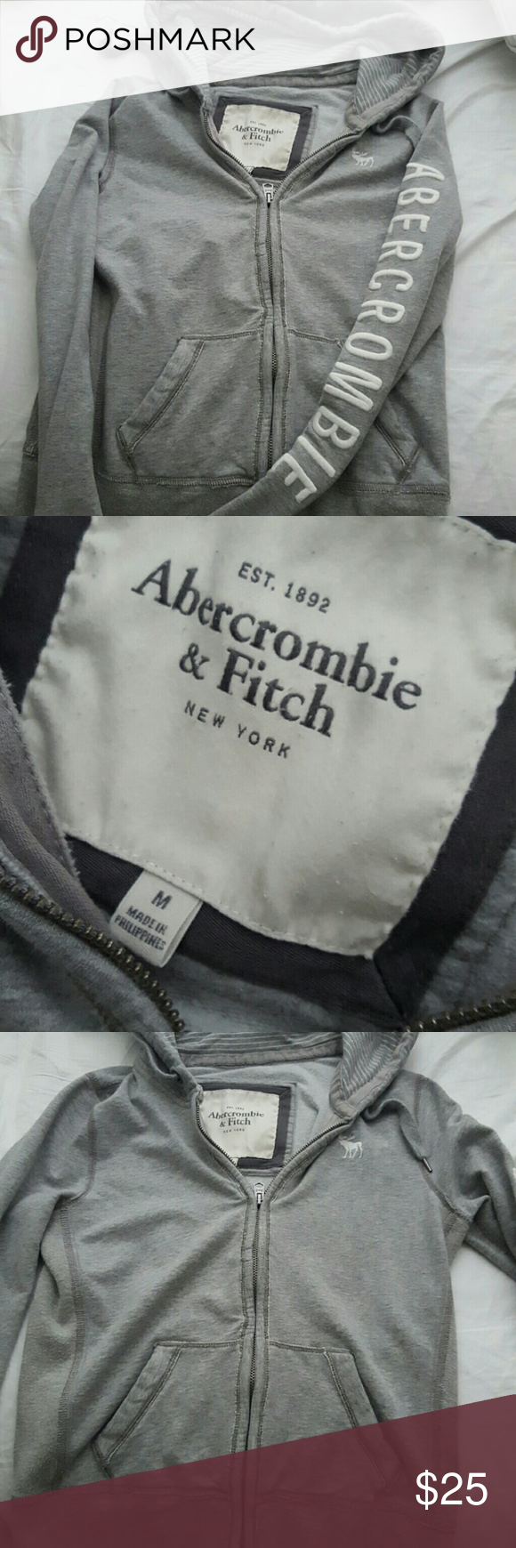 A&F Gray zipper hoodie Good condition!  Gray comfy zipper hoodie Abercrombie & Fitch Tops Sweatshirts & Hoodies