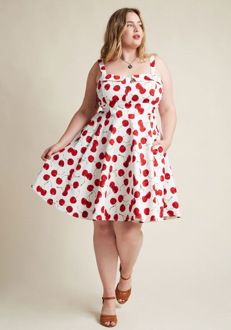 Pull Up A Cherry A Line Dress In White Plus Size Vintage Dresses A Line Dress Short Summer Dresses