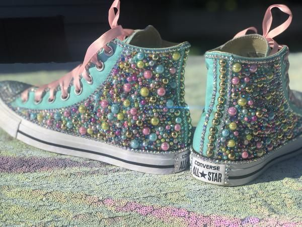 256eb9293520 Little Kids Blinged Unicorn Converse Sneakers