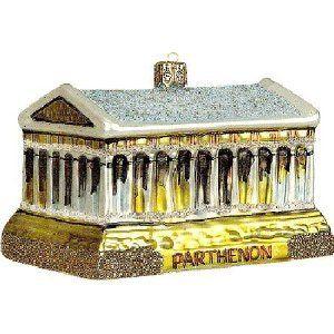 Greek Christmas Ornaments: Greek Parthenon Glass Ornament   Greece ...
