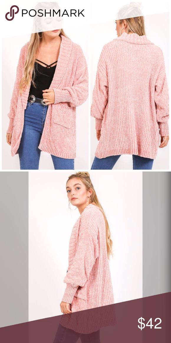 Preorder So Soft Blush Chenille Pocket Cardigan Long Sleeve