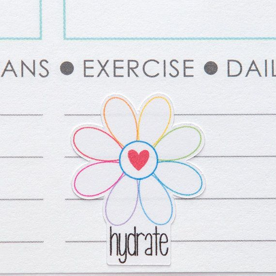 These hydrate flower stickers have eight petals to track your daily 8 glasses of water. Set of 56. All Hip Digi Chick stickers are machine cut on