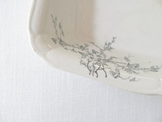 Antique Ironstone Dish    Blue Transferware  by allthingswhite, $48.00