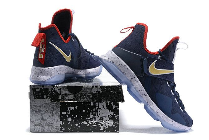 new concept 1a503 c85b9 Free Shipping Only 69  Navy Gold USA Away Lebron 14 XIV