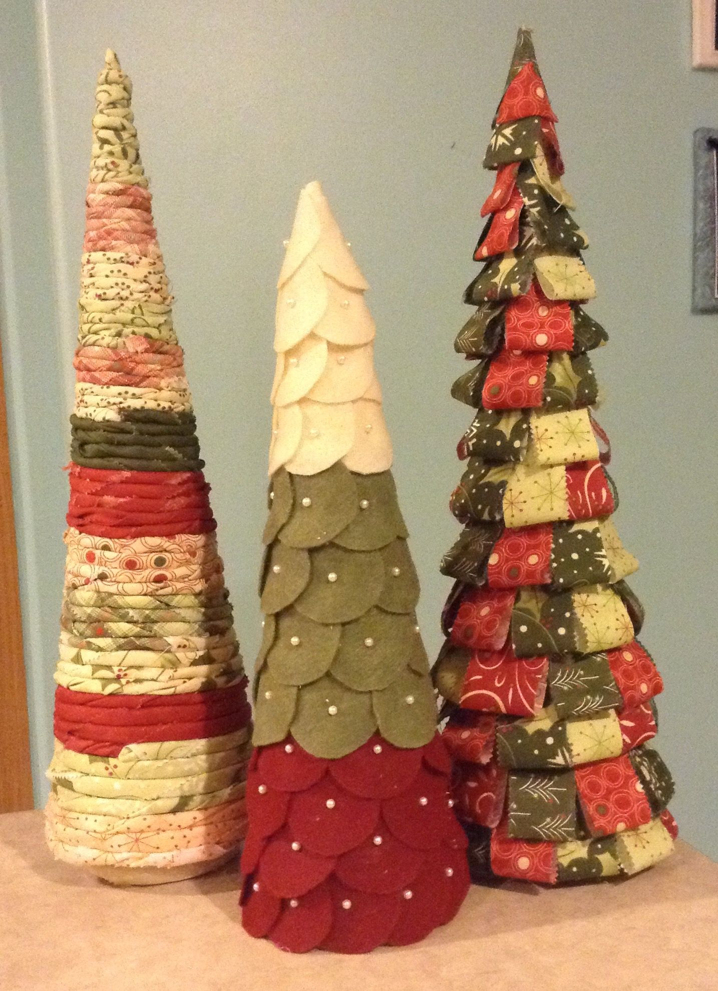 Styrofoam Cone Christmas Tree With Jelly Roll And Felt Christmas Tree Crafts Cone Christmas Trees Diy Christmas Tree Ornaments