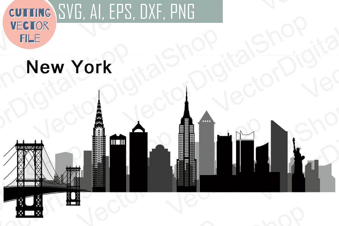 New York Vector Skyline Usa City Svg Jpg Png Dwg Cdr Eps Ai 43773 Illustrations Design Bundles Svg Usa Cities Printable Image