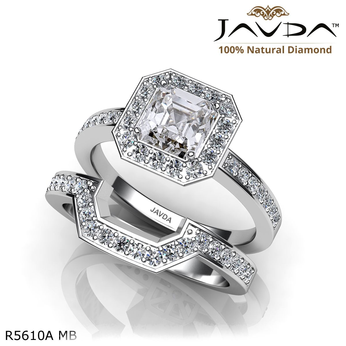 Halo pave setting bridal set asscher diamond engagement ring k