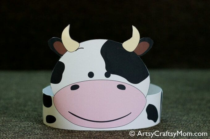 photograph about Printable Cow Hat named 12 Lovable Bash Animal Printable Hats for a Jungle Celebration