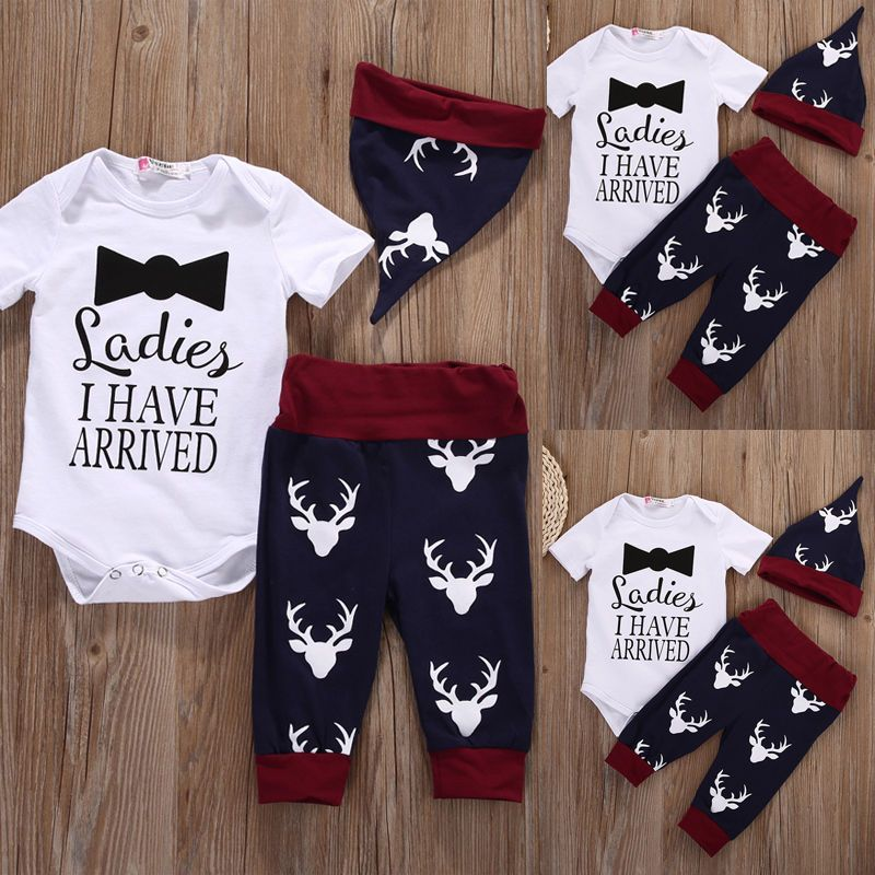 25791e559 Newborn Kids Baby Boys Girls Tops Romper+Pants+Hat Outfits Set ...