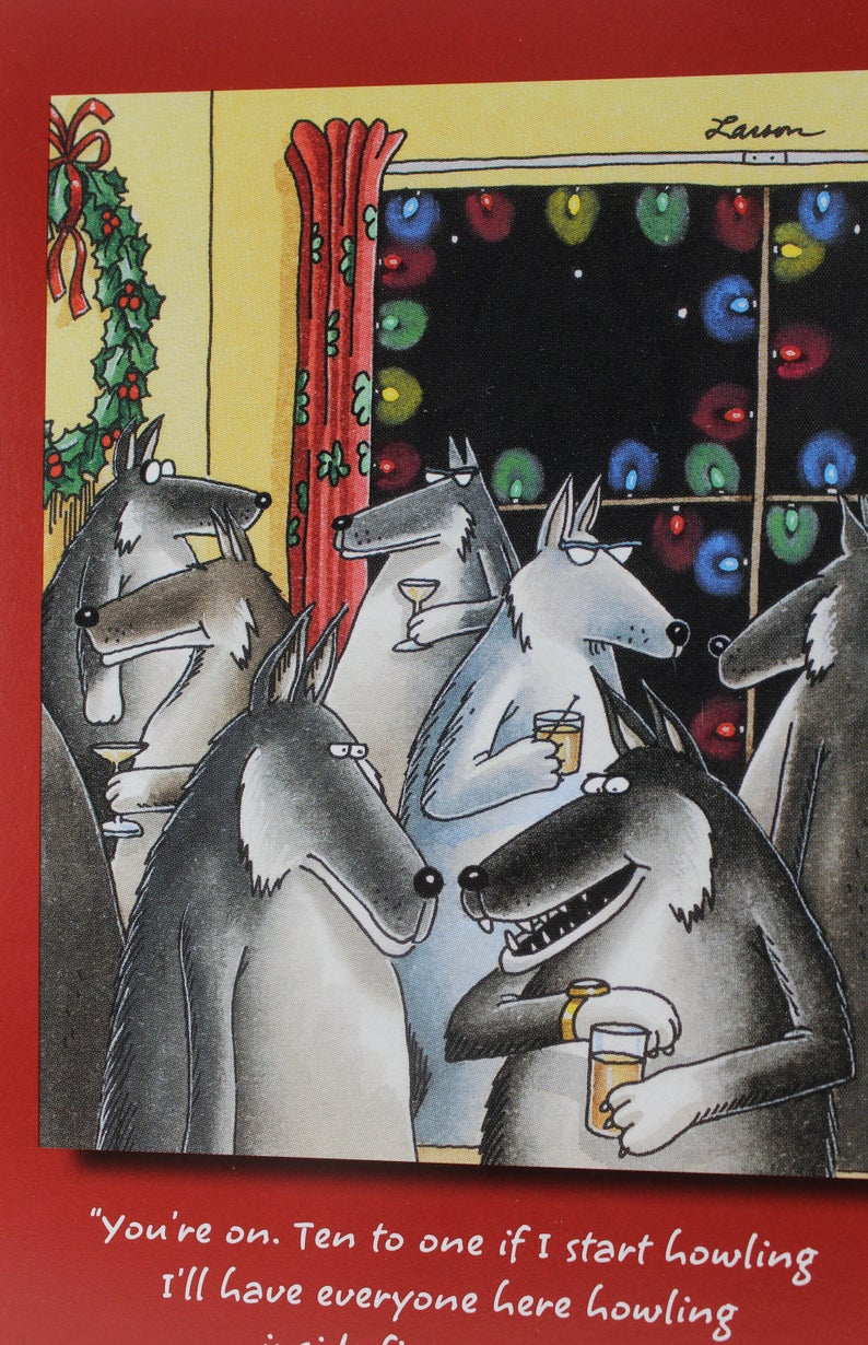 The Far Side Gary Larson Wolf At A Party Greeting Cards Etsy Gary Larson The Far Side Minion Christmas