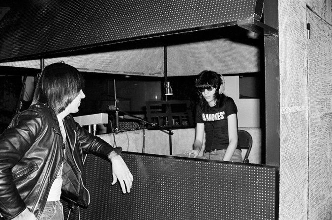 Johnny and Joey Ramone during a recording session in 1976 for the band's first album. Credit Danny Fields