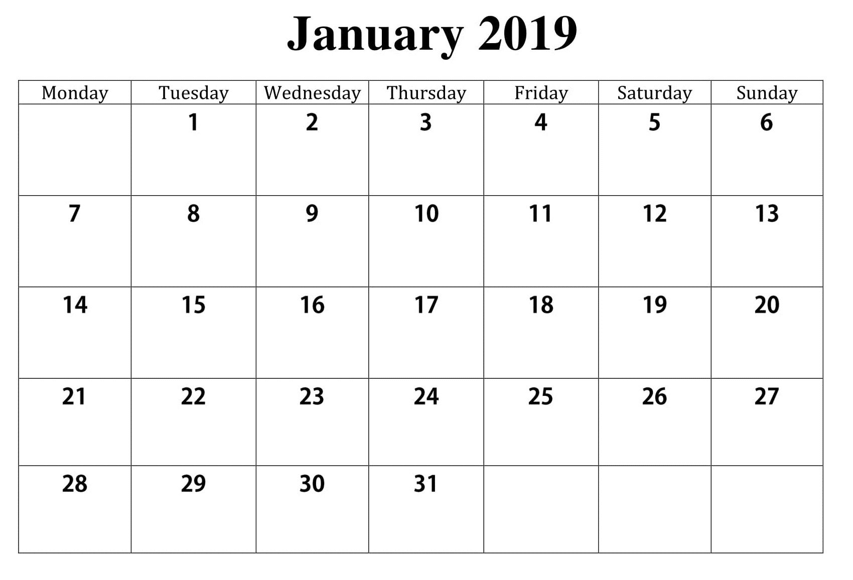 Blank January 2019 Calendar | 2019 calendar, Blank ...