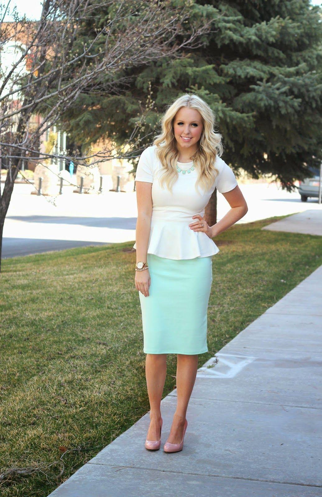 Spring Mint- Peplum top and Pencil Skirt. I want a Peplum shirt so bad :(