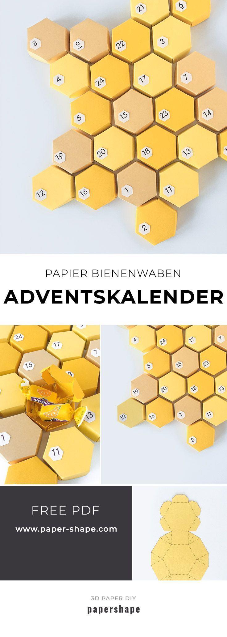 3D Honigwaben Adventskalender für fleißige Bienchen ohne Kleben
