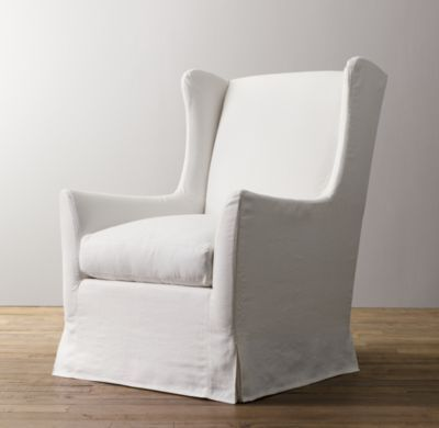 RH Baby & Child's Wingback Slipcovered Swivel Glider:Inspired by the timeless design of the classic wingback chair, our glider features a high back, shaped arms and slim wings – the latter originally designed to shelter occupants from drafts.