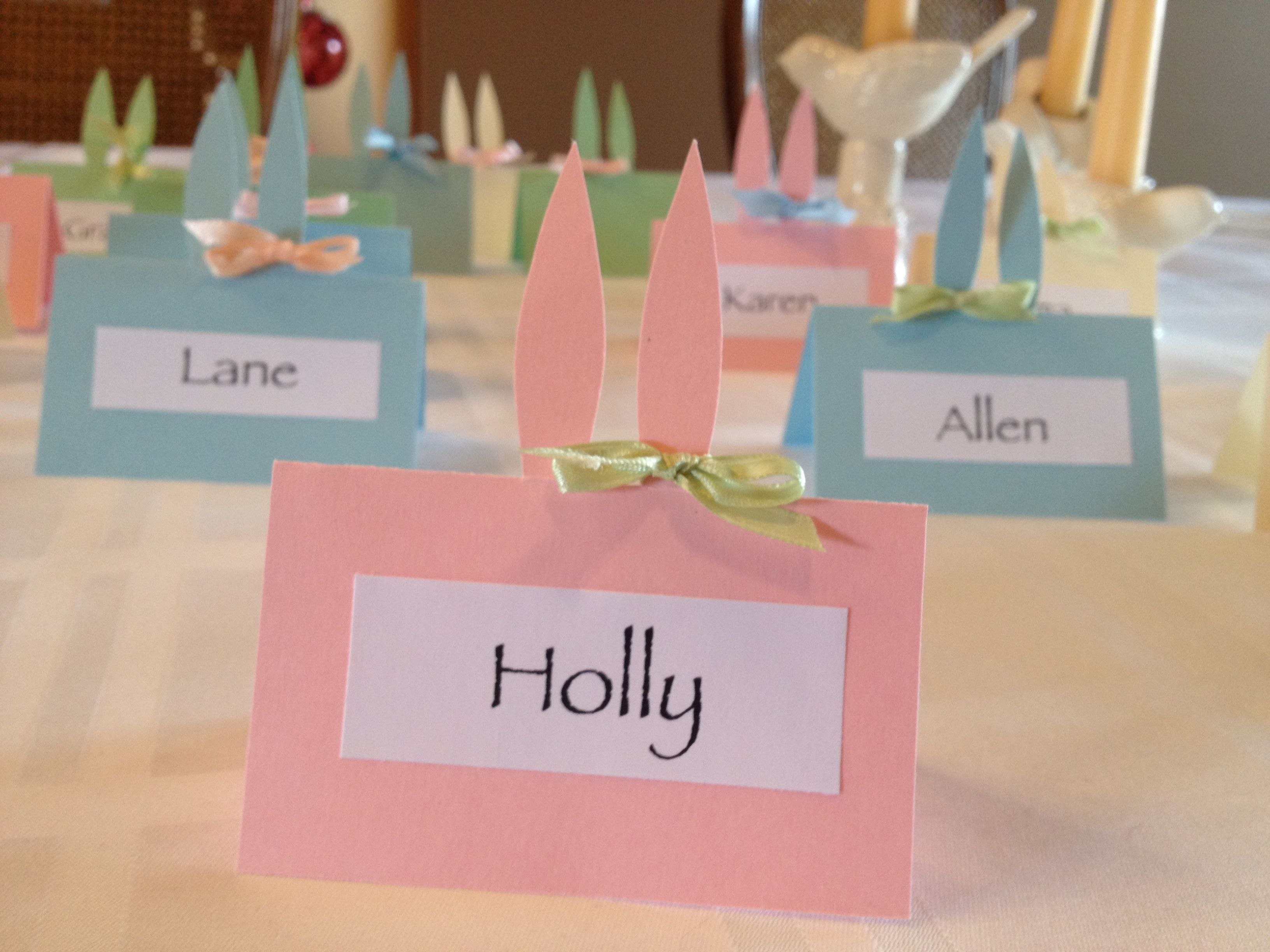 Easter bunny ears place cards. Simply cut the ears out of the back ...