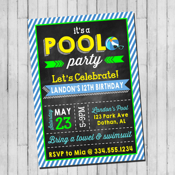 Pool Party Birthday Invitation Boy Teen Pool by LaLoopsieInvites