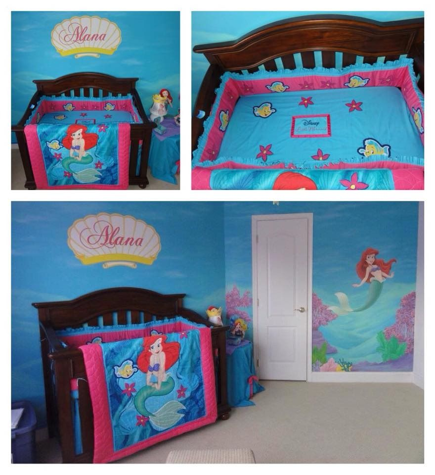Mermaid nursery bedding for girls here 39 s how it looked for World crib bedding