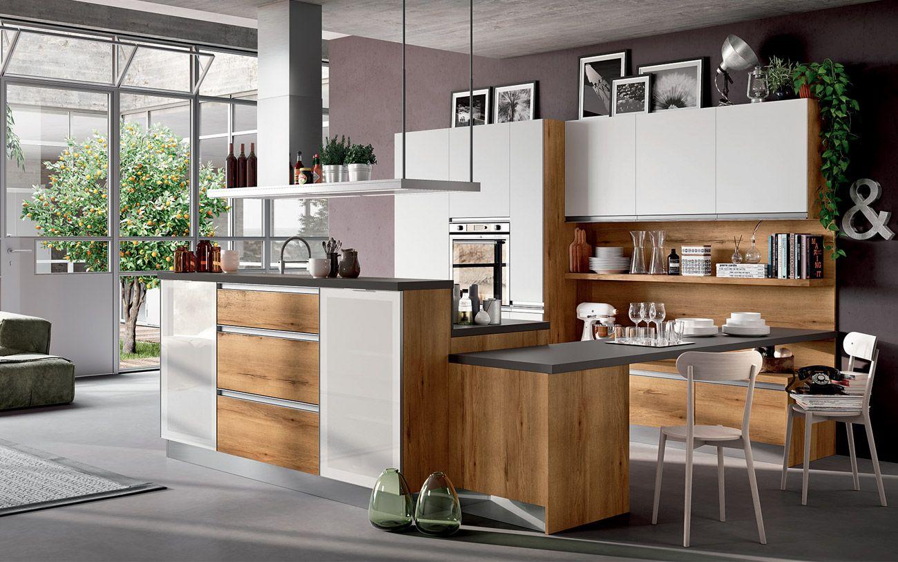 Cucina moderna con isola e piano snack - Composizione 0517   CUCINE ...