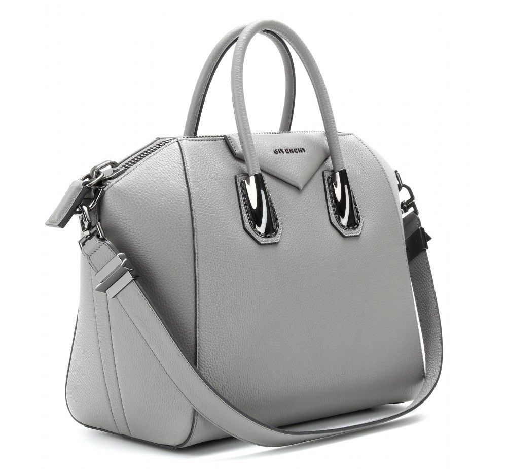 Givenchy Antigona Medium Leather Tote In Pearl Grey Grey Leather Purses Genuine Leather Totes Top Leather Totes