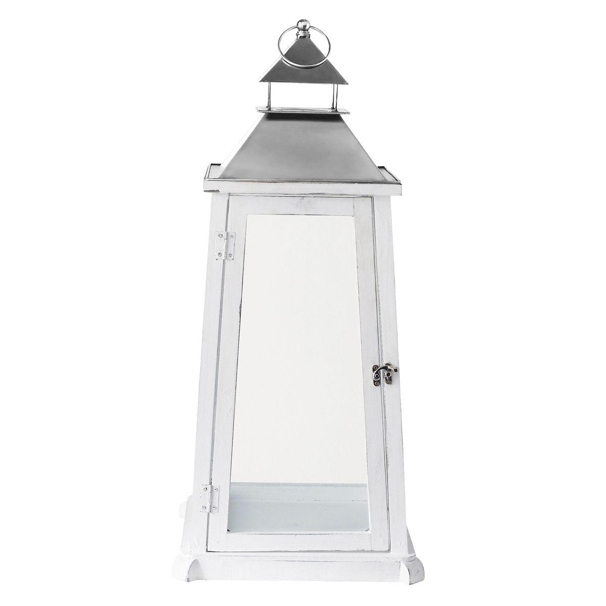 Maison Du Monde Lanterne.Lanterne En Bois Blanche H 70 Cm Anglet Lanternes En Bois