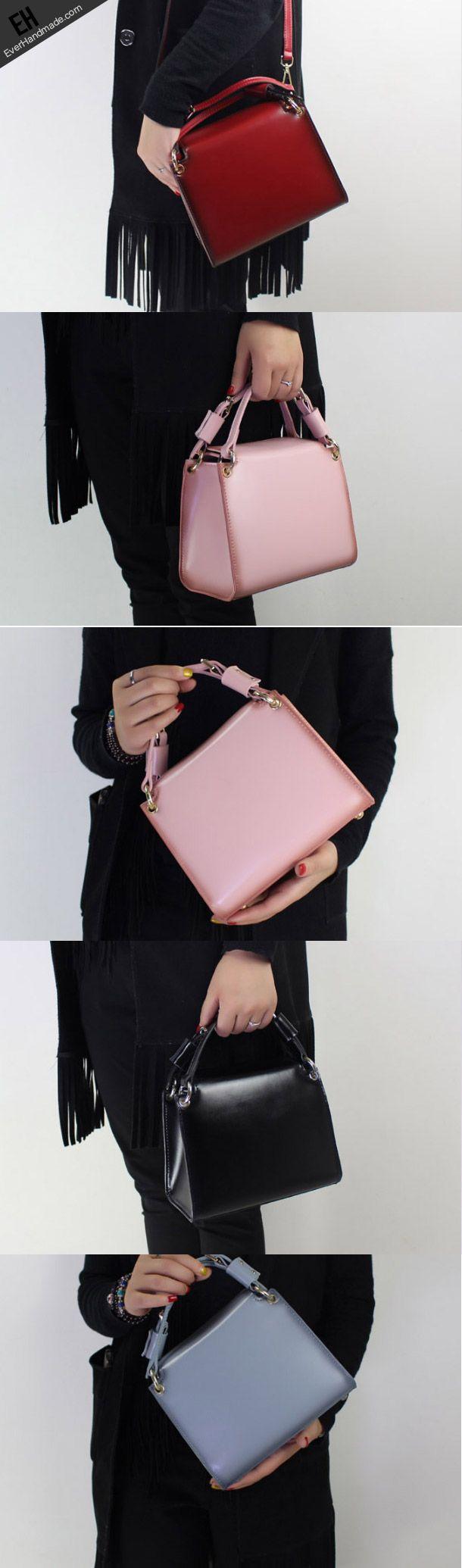 Genuine Leather Cube bag shoulder bag black for women leather
