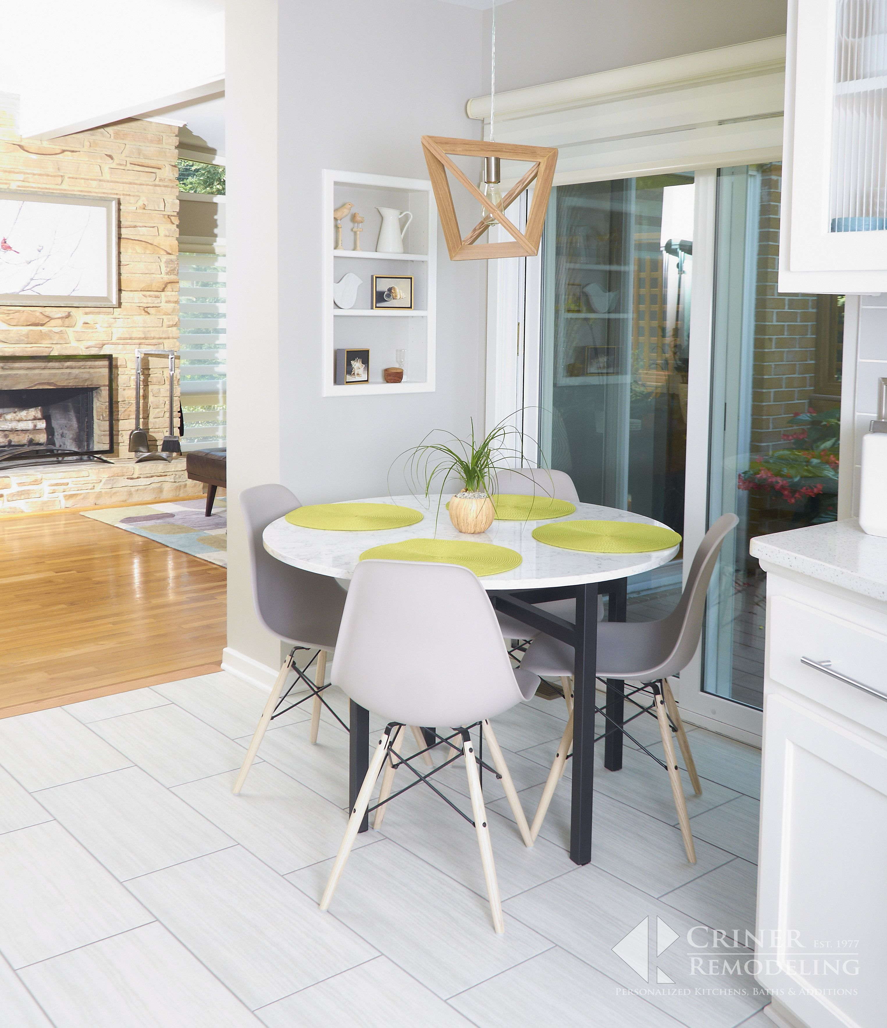 A Bump Out And Recessed Niche Increase Floor Space And Add Storage Solutions To A Breakfast Area T Kitchen Remodeling Projects Home Remodeling Custom Kitchens