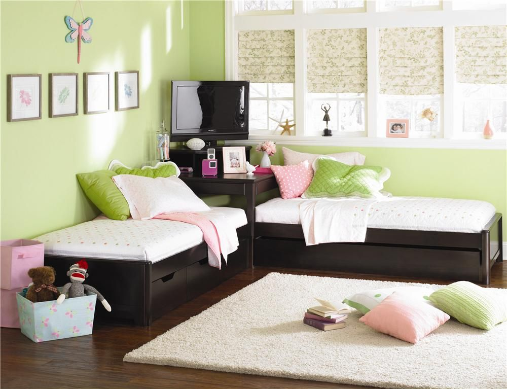 Midtown two twin l shaped beds set by lea industries for Girls bedroom furniture