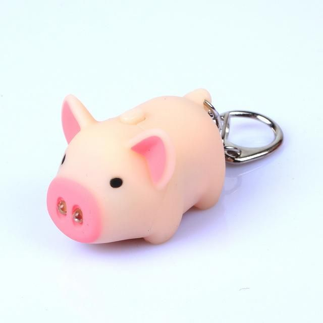 Little Cute Various Animals Keychain with Sound and Light LED Flashlight Keychains Keyrings Accessories One Size Made of Plastic /& Metal Pig Beige