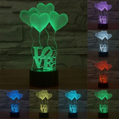 9 40 Four Heart Style Usb Charging 7 Colour Discoloration Creative Visual Stereo Lamp 3d Touch Switch Control Led Light D 3d Illusion Lamp 3d Illusions Lamp