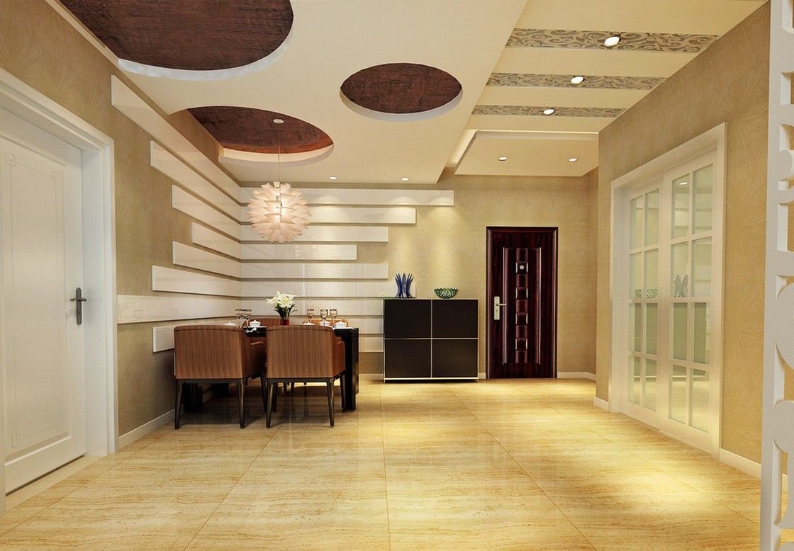 Stylish dining room ceiling design modern fall ceiling for Dining hall wall design