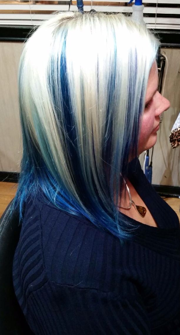 Platinum Blonde With Royal Blue And Teal Hi Lights Underneath By