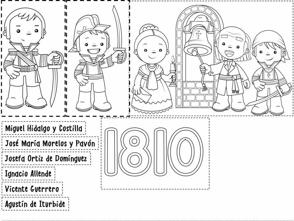 Trabajos Escuela Manualidades 15 De Septiembre Para Ninos Septiembre Preescolar Personajes De La Independencia