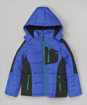 This Royal & Black Color Block Puffer Coat - Infant, Toddler & Boys by YMI Kids is perfect! #zulilyfinds