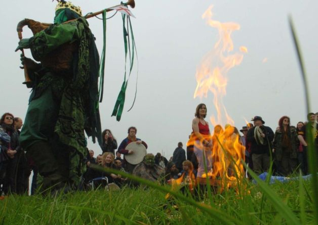 Celtic festival of Beltane at Thornborough Henge near Ripon [article: It's a moot point, but Paganism may be the fastest growing religion in Britain]