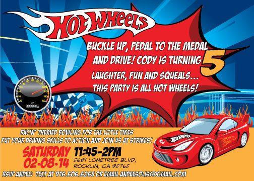 Custom Hot Wheels Birthday Party Invitation by CoDysigns on Etsy