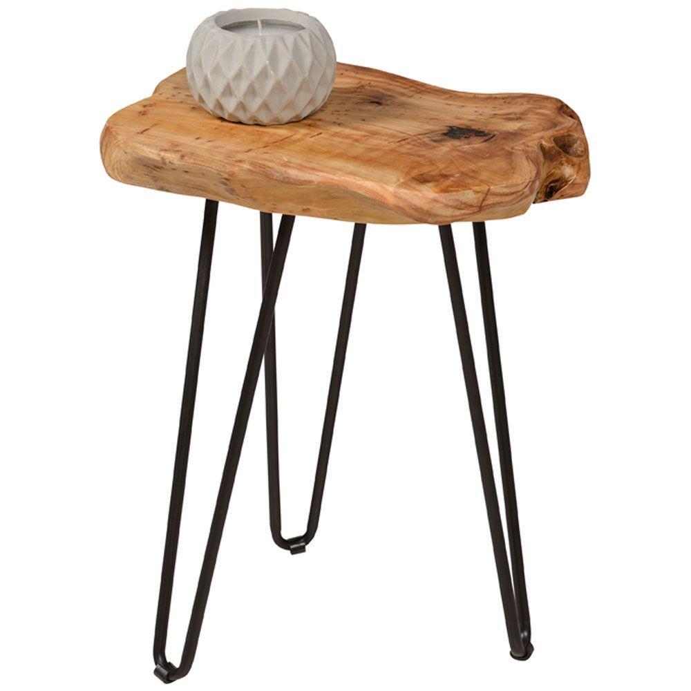 Table D Appoint En Bois Massif Et Structure En Metal Noir Quincaillerie Et Guide D Assemblage Inclus Les Mesures Table D Appoint En Bois Table D Appoint Bois