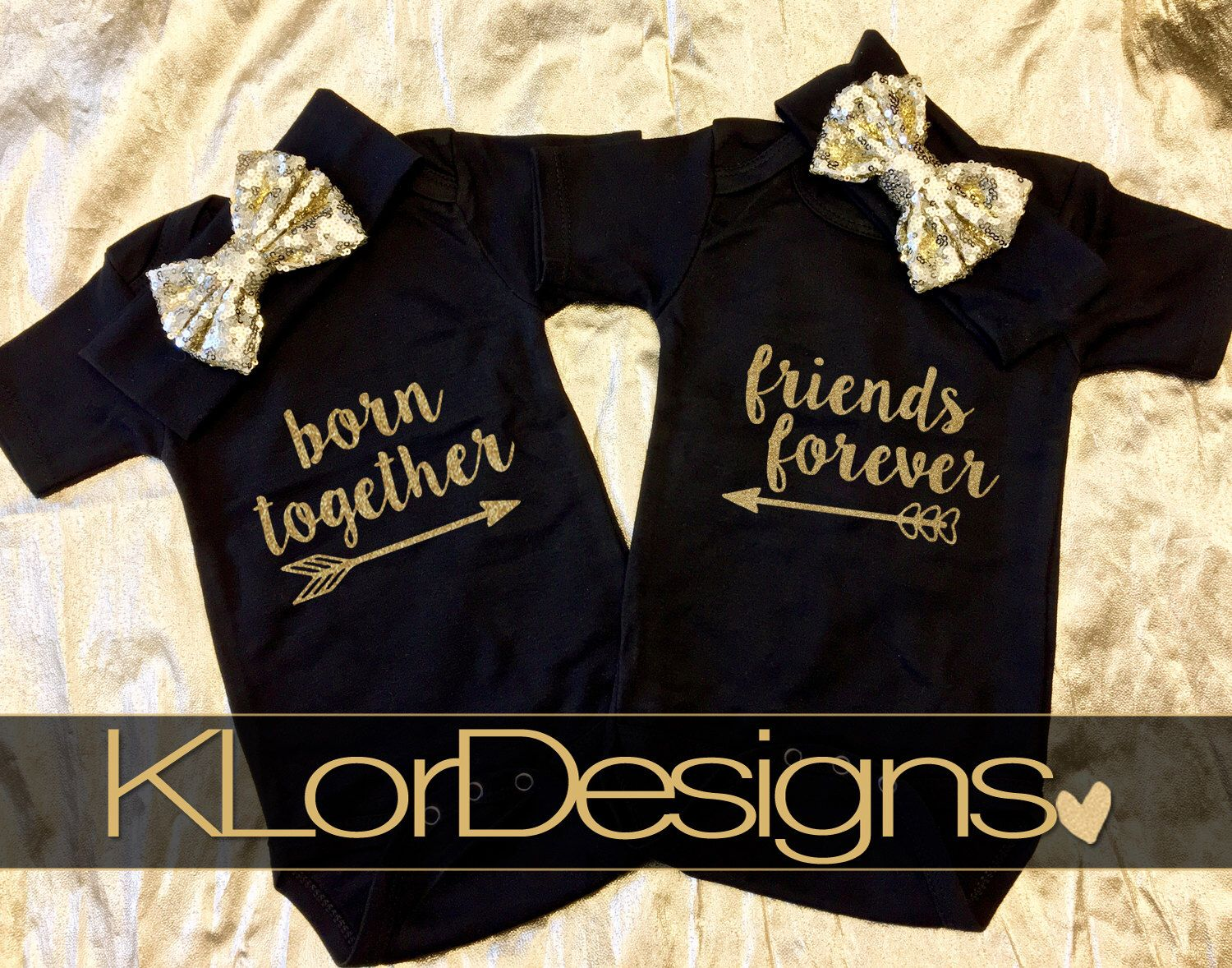 Twin Suger Spice New Personalised Long Sleeve Baby Vests Twins Newborn Gift