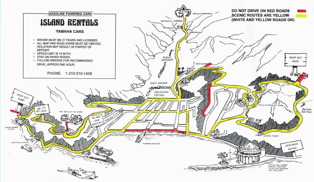 Scenic Map For Catalina Island Golf Cart Rentals From Island - Catalina island on us map