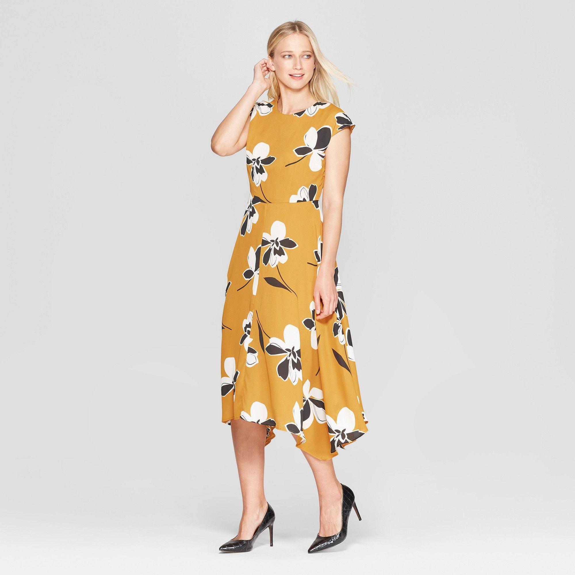 Women S Floral Print Cap Sleeve Asymmetric Hem Midi Dress Who What Wear Yellow M Target Dresses Midi Dress Who What Wear [ 2000 x 2000 Pixel ]