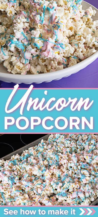 Unicorn Popcorn is perfect for movie night, a party, or just because you want to have a fun treat. #unicorn #popcorn #unicornpopcorn #funtreat #kidfood #snackfood #movienight #treats #snacks