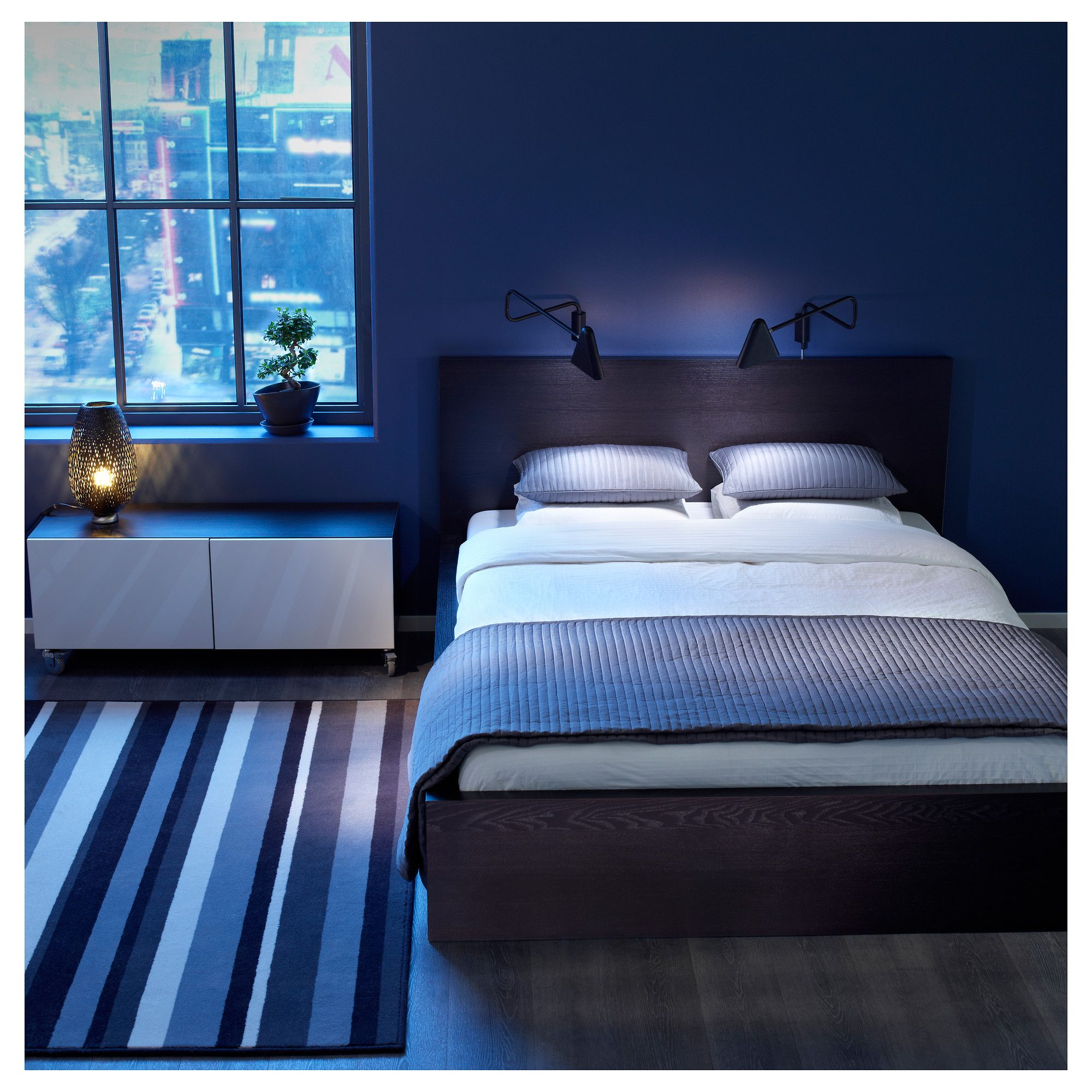 Bedroom, Charming Blue Bedroom Ideas With Cool Blue Wall Painted And Pair  Of Unique Wall Mounted Reading Lamps With Dark Headboard White Bed. Part 36