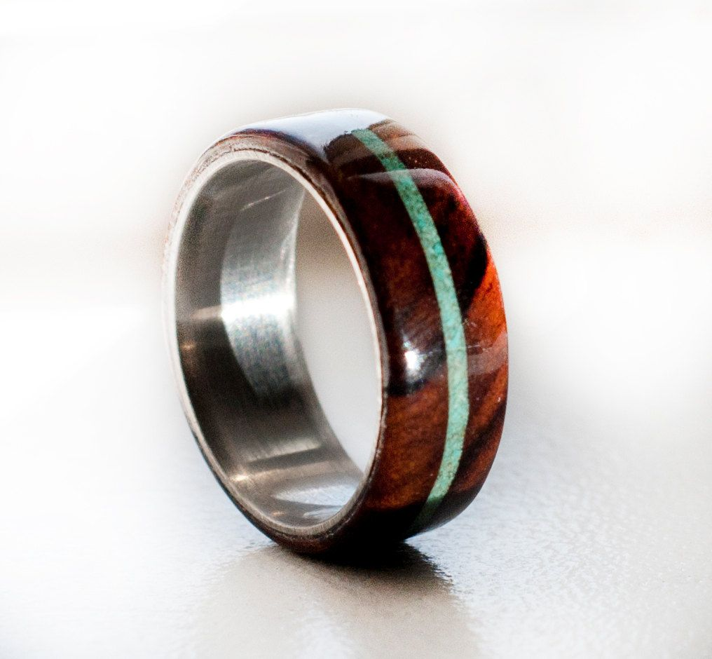 wood mens wedding band ring turquoise and woodstagheaddesigns