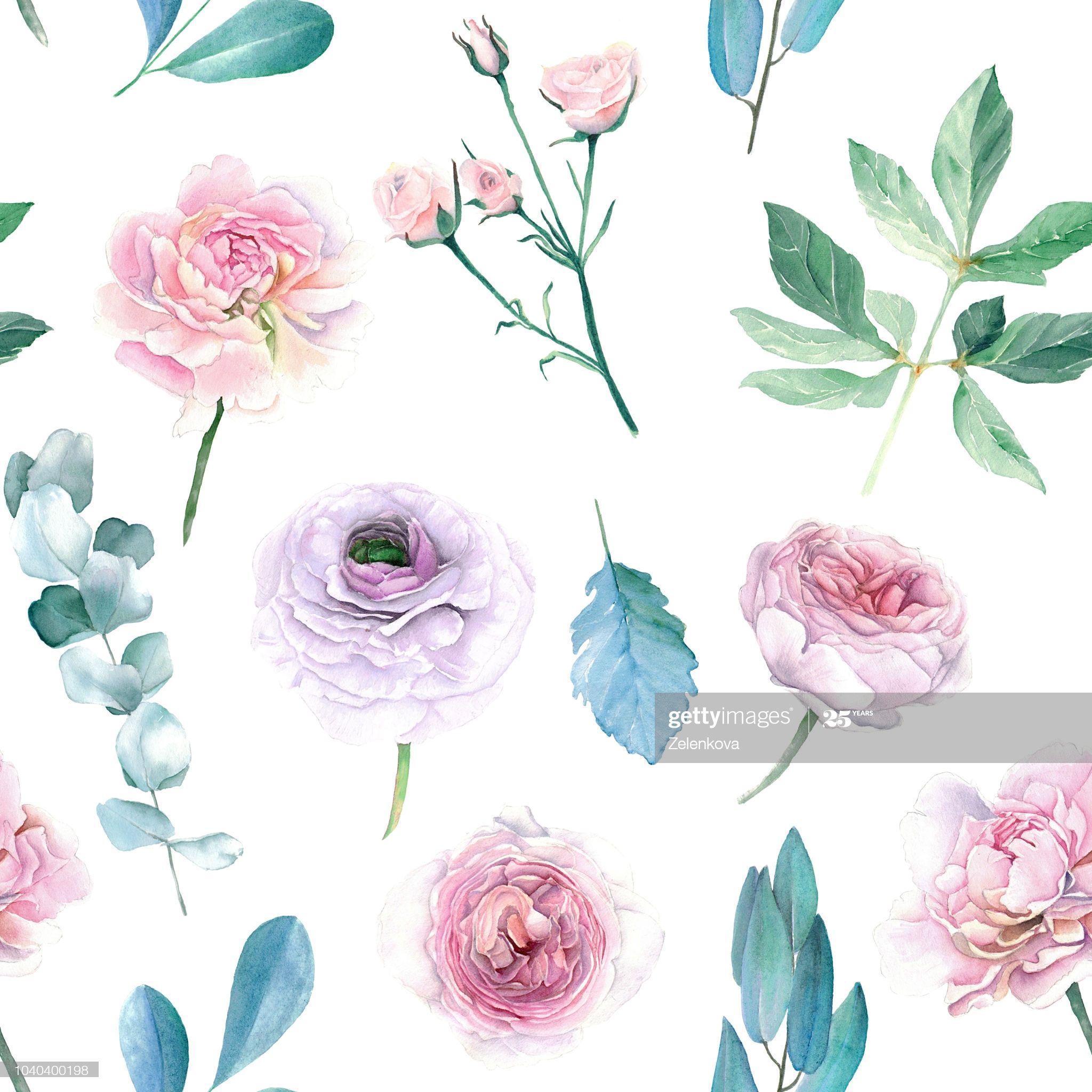 Stock Illustration Aquarell Handgezeichnete Pfingstrosen Und Rosen Nahtlose Muster Blumen Aquarell Handgezeichnete Blumen Blumen Zeichnung