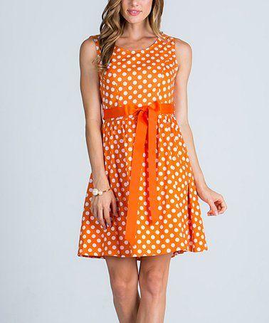 Love this Orange Polka Dot Tie-Waist A-Line Dress on #zulily! #zulilyfinds